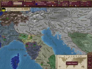 A preview image of Victoria II showing the political map mode, interfaces, in Northern Italy in 1836.